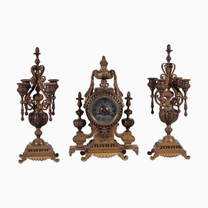 Table Clock with Candlesticks