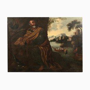 Saint Pierre et le Coq Huile sur Toile 17ème / 18ème Siècle