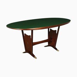 Tavolo in mogano e vetro trattato, Italia, anni '50