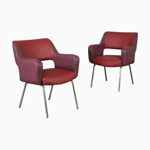 Armchairs in Foam Leatherette and Chromed Metal, Italy, 1950s, Set of 2
