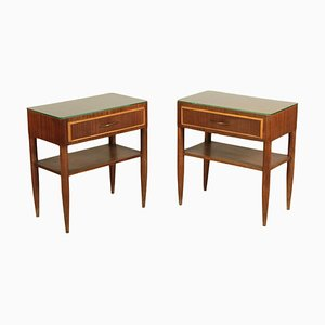 Stained Beech and Mahogany Veneer Bedside Tables, Italy, 1950s, Set of 2