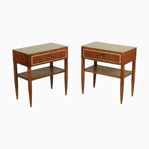 Tables de Chevet en Hêtre Teinté et Placage Acajou, Italie, 1950s, Set de 2