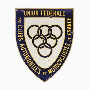 Advertising Enamel Federal Union of Car Clubs and Motorcyclists France Sign