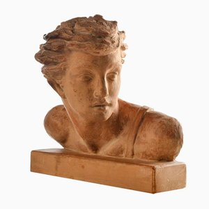 Buste en Terracotta de Jean Mermoz par Alexander Kelety