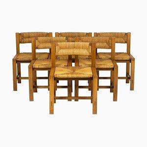 Sedie in olmo e paglia di Maison Regain, anni '60, set di 6