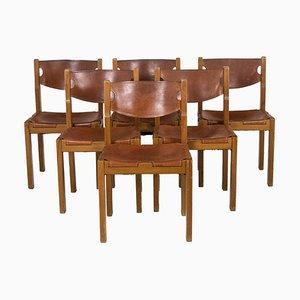 Chairs in Elm and Straw by Maison Regain, 1960s, Set of 6