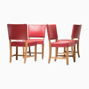 Danish Kaare Klint 3758 Red Chairs by Rud. Rasmussen
