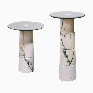 Mesas auxiliares de mármol de Samuele Brianza. Juego de 2