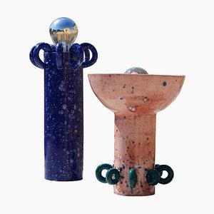 Lámparas de mesa Sugo y Riva de cerámica de Arianna De Luca. Juego de 2