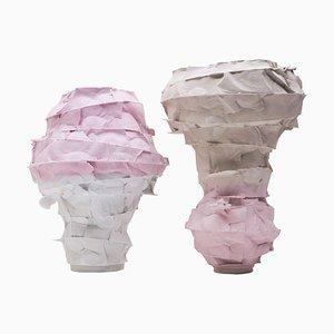 Jarrones de porcelana de Monika Patuszyńska. Juego de 2
