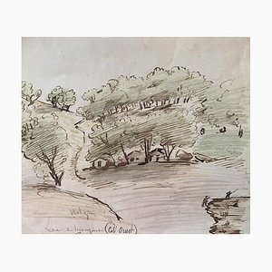 Desconocido, Casas en el bosque, Tinta original y acuarela, Mid-Century, siglo XX
