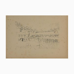 Unknown Grand Hotel, Original Pencil Drawing, Mid, 20th Century