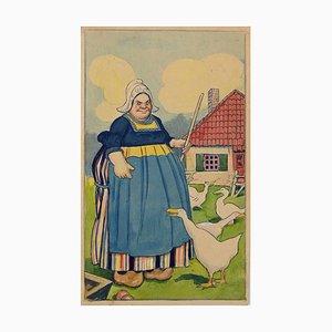 Peasant Woman with Geese, Original Drawing by Gabriele Galantara, 1915
