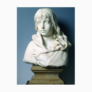 Sculpture Buste de A Girl, Original Sculpture par Francesco Jerace, 1900 Ca