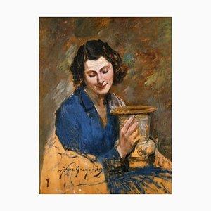 Retrato de una mujer, pintura al óleo original de Francesco De Gregorio, 1915