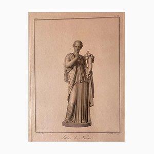 Statue Nemesis, Gravure Originale par Pietro Bettelini, 1795