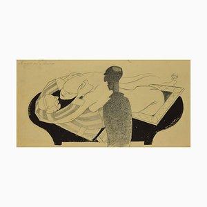 Embracing the Death, Original ink by Adolf Reinhold Hallman, 1936