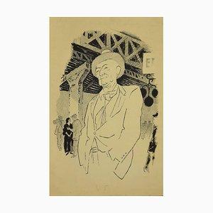 New York Banker, Original Tinte von Adolf Reinhold Hallman, 1955