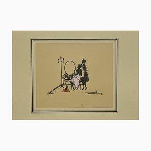 Unbekannt, Dame To the Toilet, Original Decoupage, Frühes 20. Jahrhundert