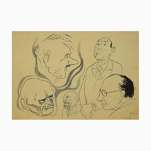 Karikaturen, Original Tinte von Adolf Reinhold Hallman, 1930er