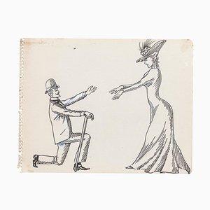 Desconocido, Escena galante, Dibujo a tinta original, principios del siglo XX