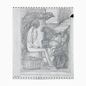 Der Faden ist gebrochen, Original Bleistiftzeichnung, 1970er