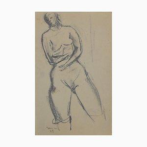 Crayon Original Nu de Femme par Herta Hausmann, 20ème Siècle
