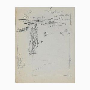Figure On the Landscape, Original Pencil by Herta Hausmann, Mid,20th Century