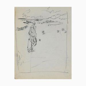 Figure On the Landscape, Original Pencil by Herta Hausmann, Mid,20th Century