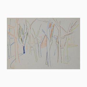 Arbres, Pastels Originaux par Herta Hausmann, Mid-Century, 20ème Siècle