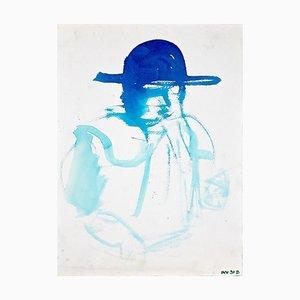 Guida, profilo blu, acquerello originale su carta, anni '70