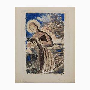 Unbekanntes, Franz von Assisi, Originale Monotypie, 1950