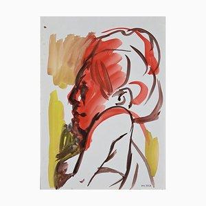Leo Guida, Profil Femme Rouge, Aquarelle Originale Sur Papier, 1970s