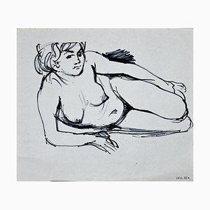 Leo Guida, Weiblicher Akt, Original Filzstift Zeichnung, 1970er