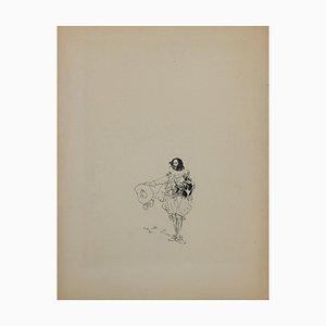Desconocido, Caminante, Dibujo original a tinta, Mid-Century, siglo XX