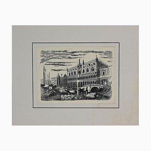 Unknown, Port in Venice, Originale Lithographie, Frühes 20. Jahrhundert