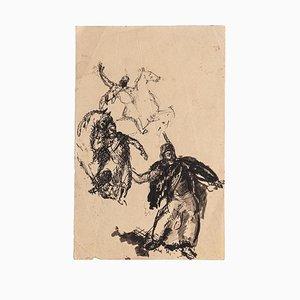 Unknown, Studies of Figures, Original Federzeichnung, Frühes 20. Jahrhundert