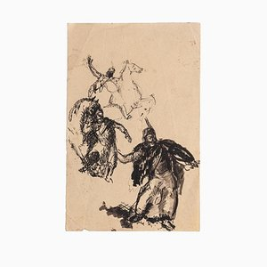 Unknown, Studies of Figures, Original ink Drawing, Early 20th Century