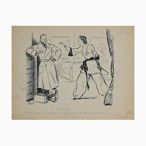 Desconocido, cúmulos, dibujo original con tinta, años 30