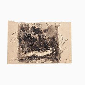 Desconocido, The Dream in the Woods, dibujo original de acuarela y tinta, principios del siglo XX
