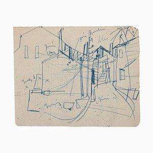 Unbekannt, In Town, Original Federzeichnung, Mitte, 20. Jahrhundert