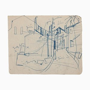 Unknown, In Town, Original Pen Drawing, Mid,20th Century