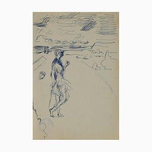 Figur Am Strand, Original China Tinte von Herta Hausmann, Mid, 20. Jahrhundert