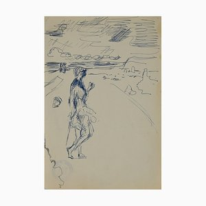 Figure On the Beach, Original China Ink by Herta Hausmann, Mid,20th Century