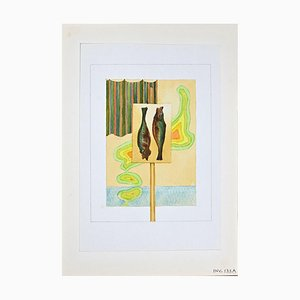 Leo Guida, Les Poissons, Original Aquarell Auf Papier, 1970er
