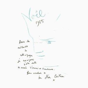 Lithographie Originale par Jean Cocteau, 1982