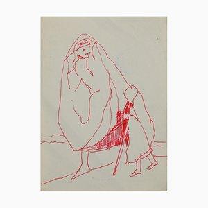 Herta Hausmann, Figures, Encre de Chine, Mid-Century, 20ème Siècle