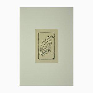 Inconnu, Oiseau, Gravure sur Bois Originale, Début 20ème Siècle