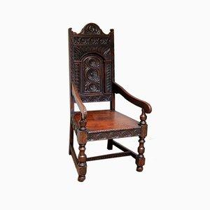 Viktorianischer Stuhl aus geschnitzter Eiche