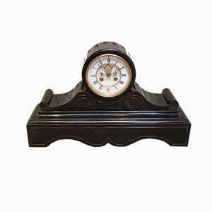 Late Victorian Polished Slate Visible Escapement Mantel Clock